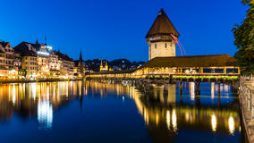 LUCERNE, SWITZERLAND - AUGUST 2: Views of the famous bridge Kape Royalty Free Stock Photos