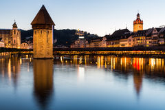 LUCERNE, SWITZERLAND - AUGUST 2: Views of the famous bridge Kape Royalty Free Stock Photo