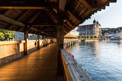 LUCERNE, SWITZERLAND - AUGUST 2: Views of the famous bridge Kape Stock Photography