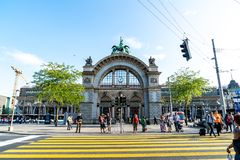 LUCERNE, SWITZERLAND - AUGUST 27: Views of the famous old railway station gate in Lucerne on August 27, 2018. Lucerne is a famous. LUCERNE, SWITZERLAND - 2018 stock image