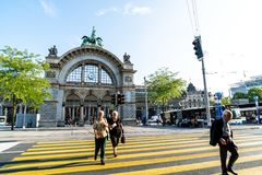 LUCERNE, SWITZERLAND - AUGUST 27: Views of the famous old railway station gate in Lucerne on August 27, 2018. Lucerne is a famous. LUCERNE, SWITZERLAND - 2018 stock images