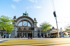 LUCERNE, SWITZERLAND - AUGUST 27: Views of the famous old railway station gate in Lucerne on August 27, 2018. Lucerne is a famous. LUCERNE, SWITZERLAND - 2018 stock photos