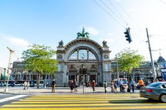 LUCERNE, SWITZERLAND - AUGUST 27: Views of the famous old railway station gate in Lucerne on August 27, 2018. Lucerne is a famous. LUCERNE, SWITZERLAND - 2018 stock photography