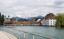 Lucerne Switzerland. With Chapel Bridge, Reuss River and alps Stock Images