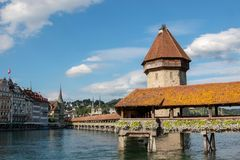 Panoramic view of Lucerne city with Chapel Bridge and river Reuss royalty free stock images