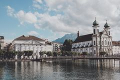 Panoramic view of Lucerne city with Jesuit Church and river Reuss royalty free stock photo