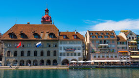 LUCERNE, SWITZERLAND - JULY 04, 2017: View of historic Lucerne city center, Switzerland. Lucerne is the capital of the Stock Photo