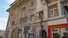LUCERNE, SWITZERLAND - JULY 04, 2017: View of historic Lucerne city center, Switzerland. Lucerne is the capital of the Stock Image