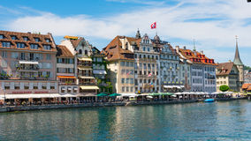 LUCERNE, SWITZERLAND - JULY 04, 2017: View of historic Lucerne city center, Switzerland. Lucerne is the capital of the Stock Photography