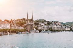 View on lake Lucerne, mountains and city Lucerne, Switzerland, Europe. stock images