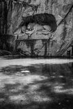 LUCERNE, SWITZERLAND - JUNE 3, 2017: The black and white photo of Lowendenkmal, the Lion Monument, which is the dying lion statue Stock Photos