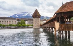 Chapel Bridge and Water Tower, Lucerne Royalty Free Stock Images