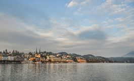 Cityscape of Lucerne along Lake Lucerne stock image