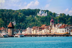 Lucerne, Switzerland. Skyline of Lucerne city viewed from the Lake Lucerne stock photos