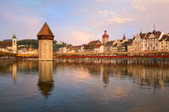 Lucerne, Switzerland. Skyline of Lucerne city viewed from the Lake Lucerne on sunset stock photo