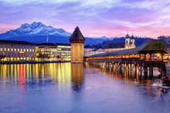 Lucerne, Switzerland. Skyline of Lucerne city viewed from the Lake Lucerne on sunset royalty free stock photo