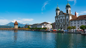 LUCERNE, SWITZERLAND: View of historic Lucerne city center, Switzerland. Lucerne is the capital of the canton of Lucerne Royalty Free Stock Photo