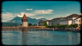 LUCERNE, SWITZERLAND: View of historic Lucerne city center, Switzerland. Vintage style. Stock Photo