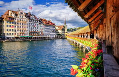 Lucerne, Switzerland. View on the old city from famous Chapel Bridge stock photography