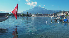 Lucerne, Switzerland. View of the shore and the Lake Lucerne (French: lac des Quattre-Cantons) Lucerne, Switzerland Stock Photo