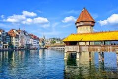 Lucerne, Switzerland. View to the Water Tower (Wasserturm) and wooden Chapel Bridge (Kapelbrücke) in Lucerne, Switzerland stock photography