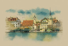 Lucerne, Switzerland. View of town. Lucerne. Switzerland. Watercolor sketch Royalty Free Illustration