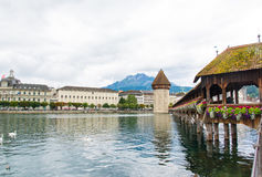 Lucerne Switzerland with wooden Chapel Bridge and swans Royalty Free Stock Images