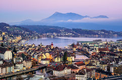 Lucerne town, Lake Lucerne and Rigi Mountain, Switzerland Stock Images