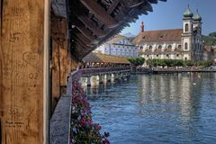 Lucerne is a Urban Center in the Country of Switzerland in Europe royalty free stock photo