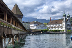 Lucerne. View of the old wooden bridge on the river Royalty Free Stock Image