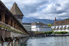 Lucerne. View from the old wooden bridge on the river Stock Photos