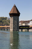Lucerne with water tower and chapel bridge Stock Photos