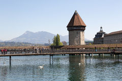Lucerne with water tower and chapel bridge Stock Images
