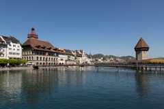 Lucerne with water tower and chapel bridge Royalty Free Stock Image