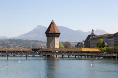 Lucerne with Water tower and chapel bridge Royalty Free Stock Photography