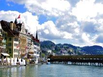 Lucerne wood bridge in Switzerland Royalty Free Stock Photo