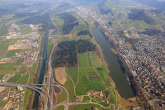 Lucerny Luzern autostrady wymiany rozdroże Emmen Szwajcaria a Fotografia Royalty Free