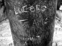 ` Lucero de Lucero Te Amo de ` de gravure, je t'aime sur un courrier noir et blanc Photo stock