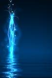 Luces abstractas azules en la oscuridad Imagenes de archivo