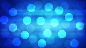 Luces abstractas Bokeh en el brillo del fondo azul de la pendiente ilustración del vector