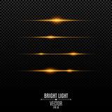 Luces anaranjadas abstractas en un fondo transparente Flashes y resplandor brillantes del color oro El efecto de la cámara Rayos  ilustración del vector