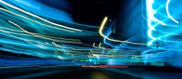 Luces azules del coche del movimiento Fotografía de archivo
