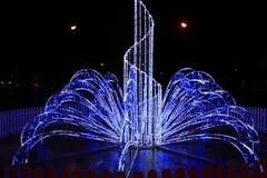 Luces azules en los días de fiesta del Año Nuevo en la noche Fotografía de archivo libre de regalías