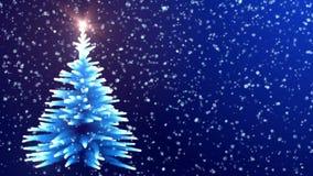 Luces azules que brillan intensamente del árbol de navidad con los copos de nieve que caen libre illustration