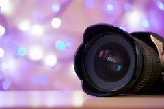 Luces brillantes del Año Nuevo del fondo de la lente de cámara Foto de archivo libre de regalías