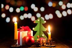 Luces brillantes en el ` s Eve del Año Nuevo Foto de archivo libre de regalías