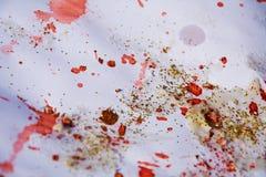 Luces chispeantes de oro rosadas, fondo abstracto del invierno Imagen de archivo
