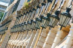 Luces cuadradas de Liston de la ciudad de Corfú Fotografía de archivo
