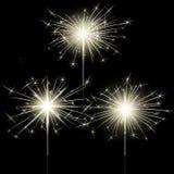 Luces de Bengala aisladas primer del brillo de la bengala para la decoración del día de fiesta Imagenes de archivo