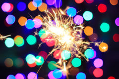 Luces 2016 de Bengala del Año Nuevo bajo la forma de estrellas Fotos de archivo libres de regalías